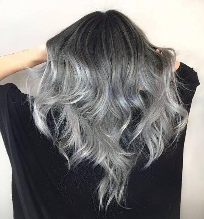 Пепельное омбре (53 фото): серое омбре на темные и русые волосы, на короткие волосы и средней длины