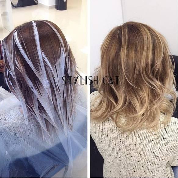 Балаяж на темные волосы средней длины (48 фото): окрашивание прямых и вьющихся волос в домашних условиях в карамельный и шоколадный оттенки