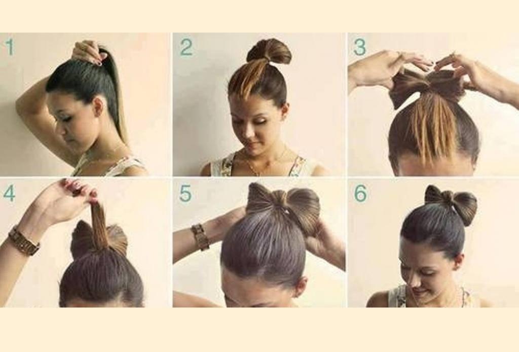 Прическа бант из волос, простые схемы создания