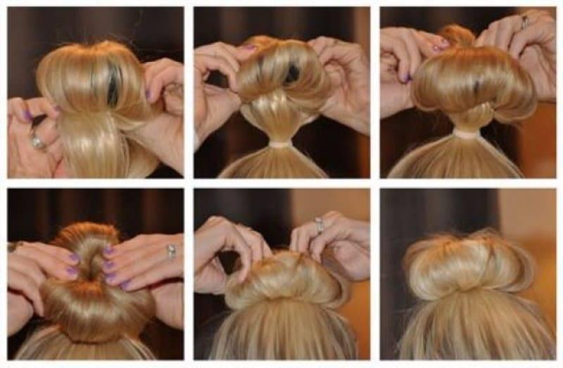 Как сделать красивый пучок на голове с помощью резинки