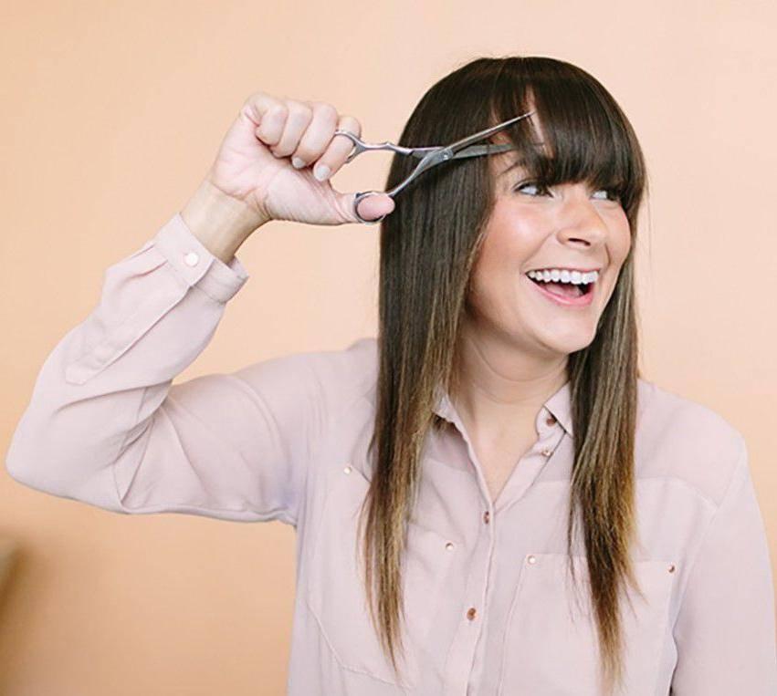 Косая челка на короткие и средние или длинные волосы