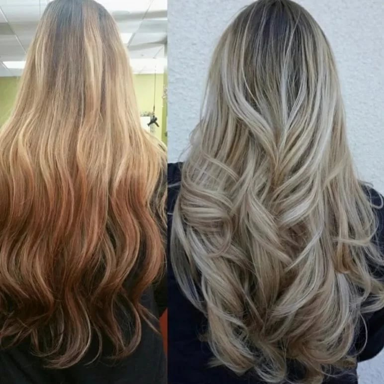 Растяжка цвета на волосах (56 фото): что это такое, виды окрашивания, подбор цвета