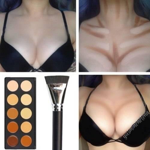Контуринг – для носа, бровей, глаз, подбородка, губ, груди, тела, волос
