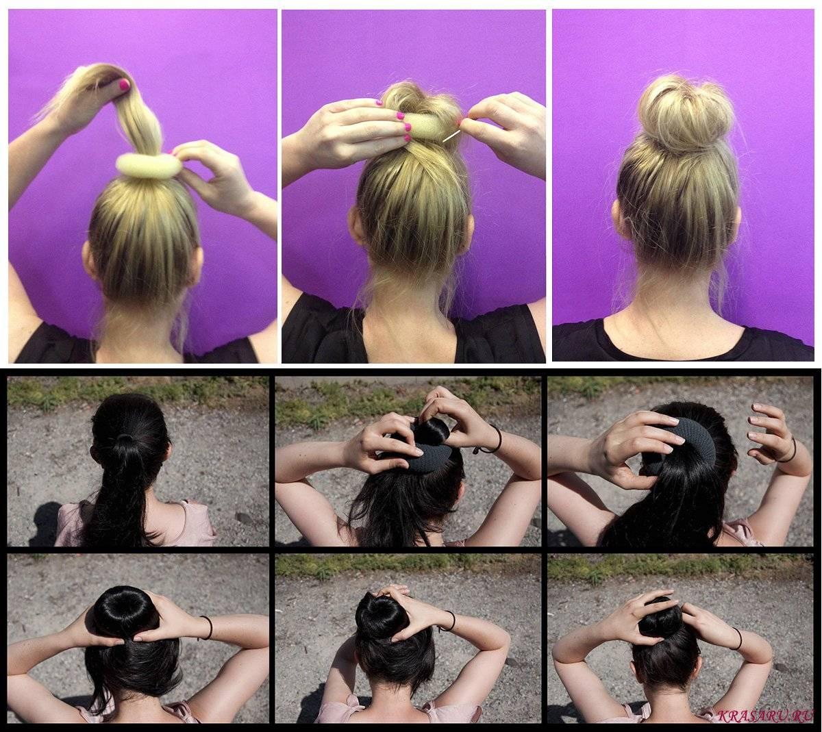 2021 прическа с бубликом на длинные и средние волосы
