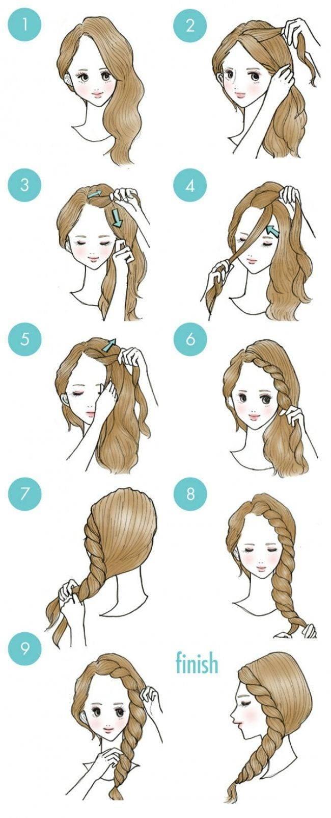 Как заплести красивую косу самой себе фото инструкции
