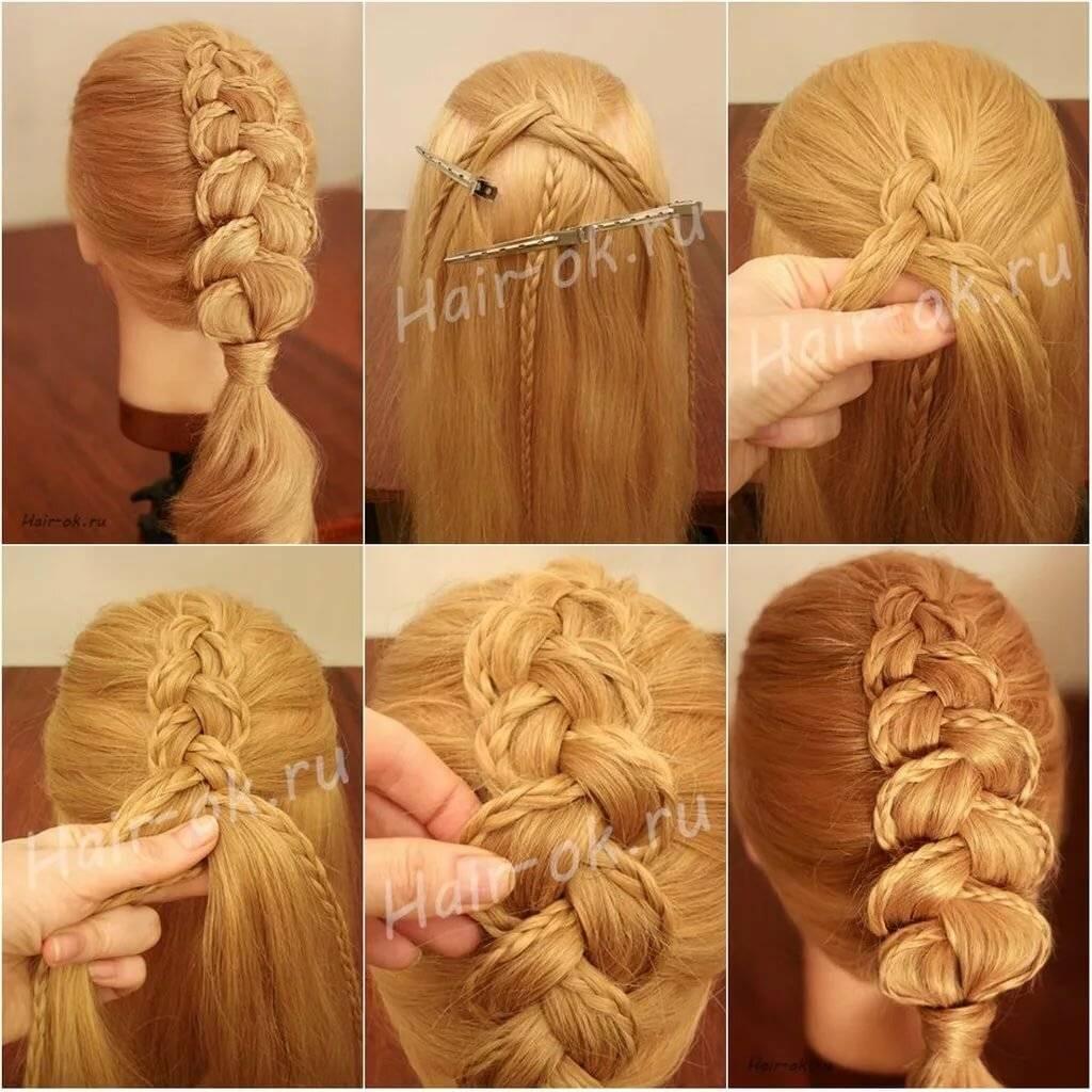 Плетение кос на длинные, средние волосы для начинающих, пошаговые видеоуроки и фото