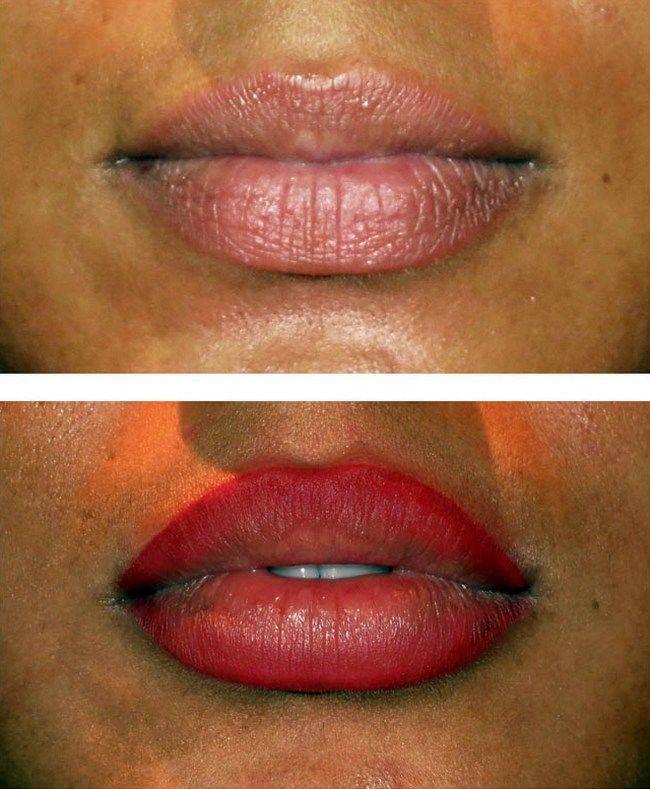 Татуаж губ с растушевкой и без: виды, фото, отзывы