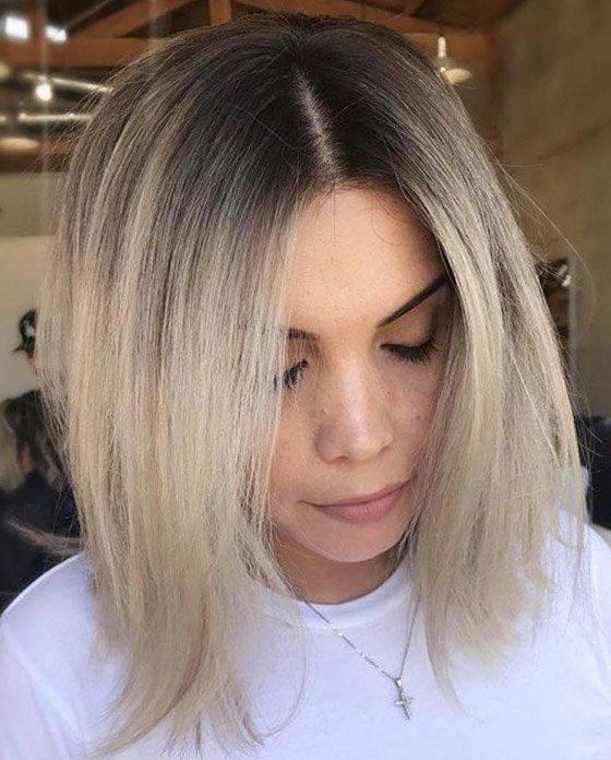 Блонд с темными корнями: холодный, платиновый и пепельный (фото)