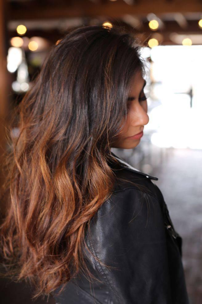 Омбре на черные волосы на длинные, средние и короткие — фото