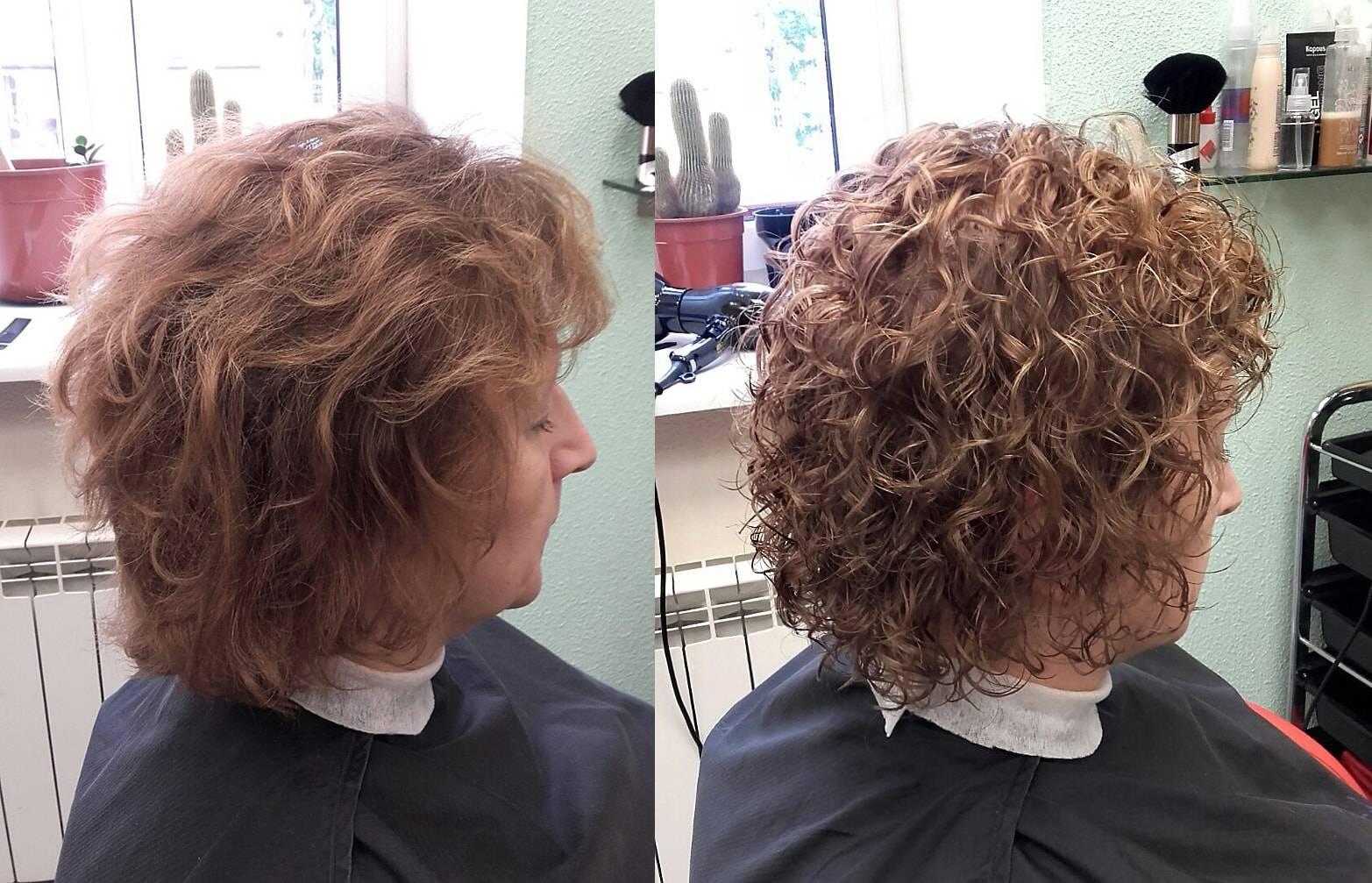 Современная химическая завивка на средние волосы