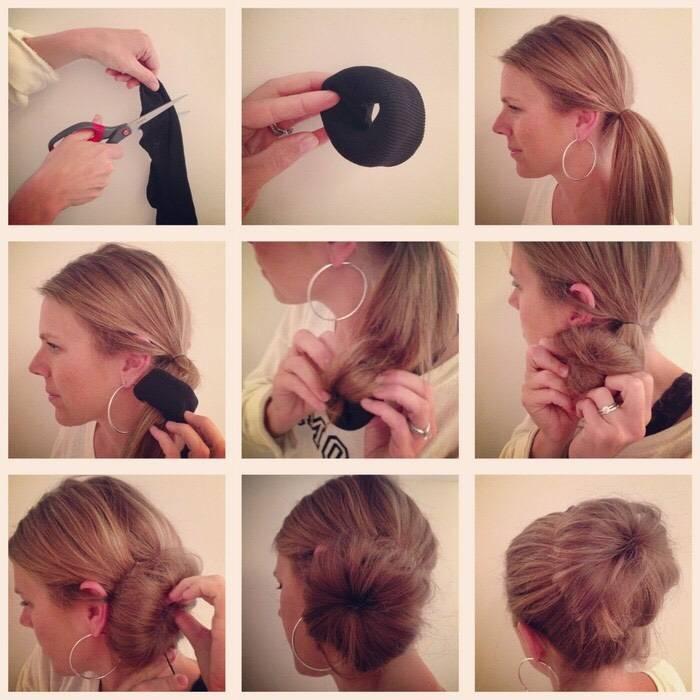 Как сделать пучок на голове с помощью резинки (фото): на средние и длинные волосы