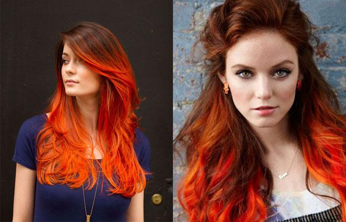 Омбре на рыжие волосы на длинные, короткие и средние – 6 оттенков и 3 техники окрашивания