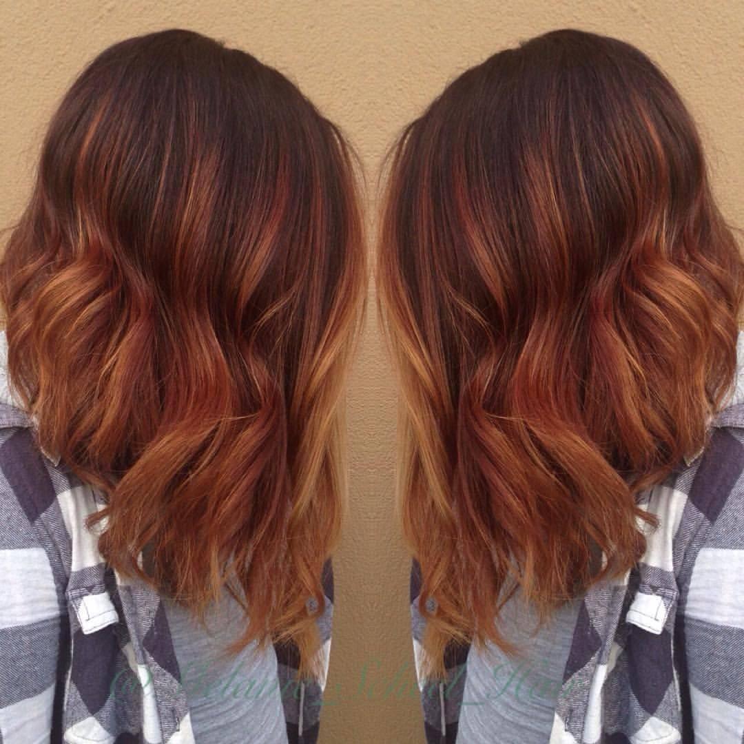 Рыжее омбре (76 фото): окрашивание темных коротких и длинных волос, омбре рыжего цвета на русые волосы средней длины