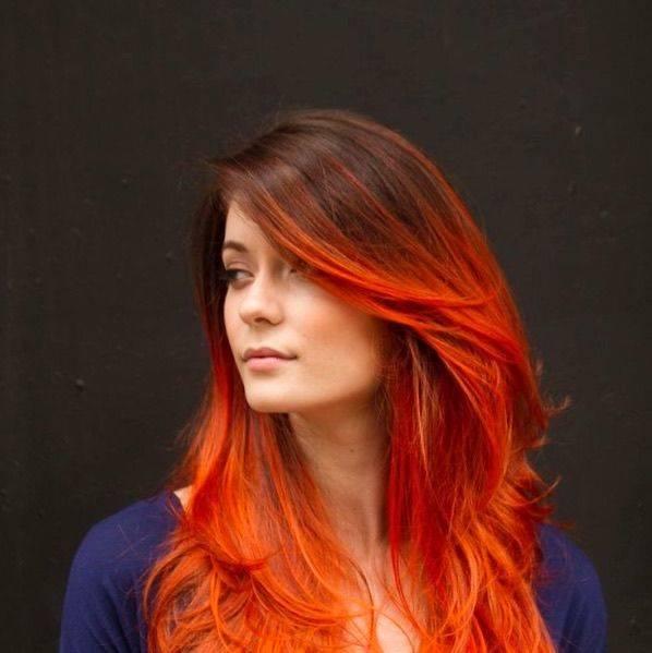 Рыжее омбре на темные и светлые волосы разной длины