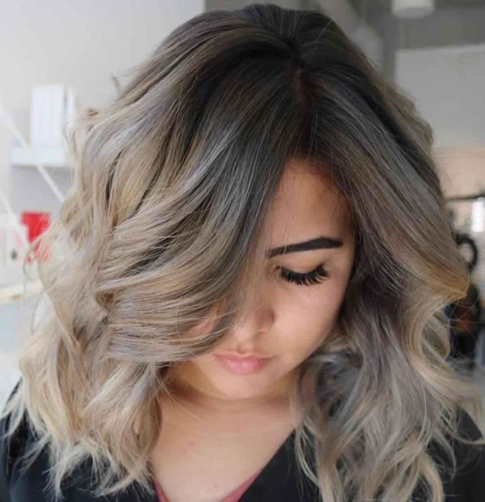 Пепельное омбре: окрашивание на темные волосы (фото)