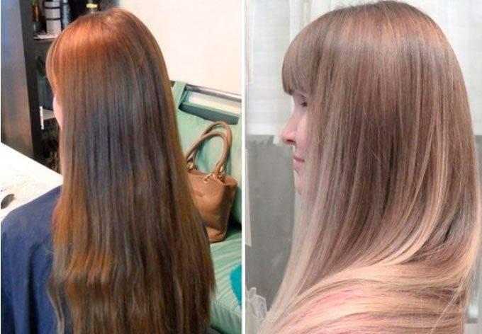 Фото до и после брондирования на тёмные волосы, обучающие видео по этой технике в домашних условиях