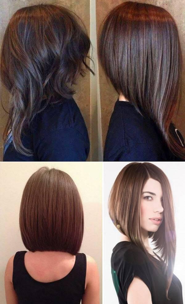 Стрижка каре на средние волосы, вид спереди и сзади, фото 2018