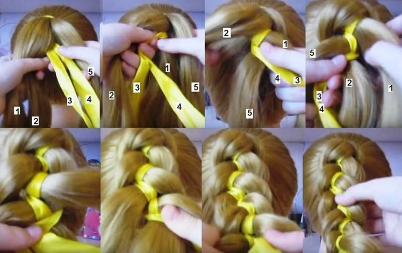 Плетение кос из минимального количества прядей с лентой