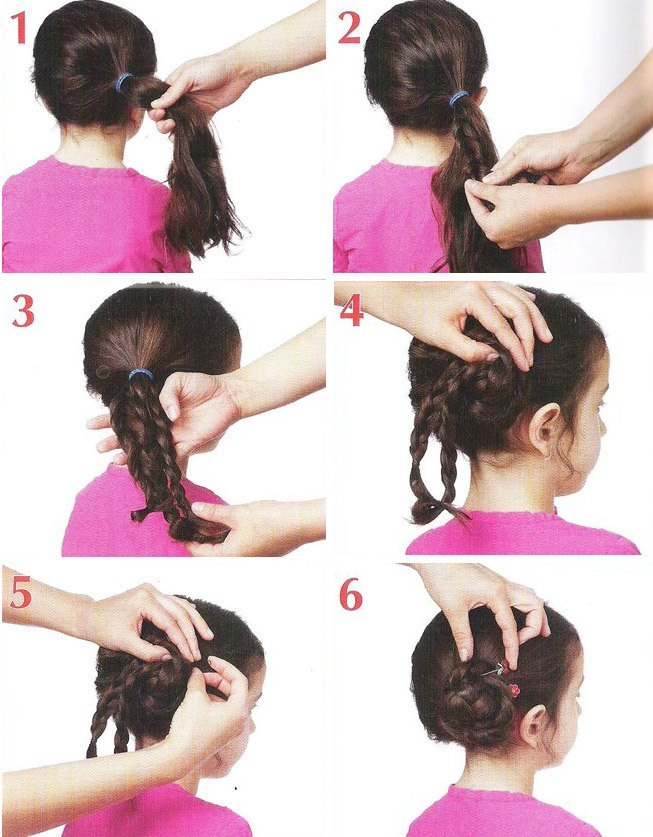 Взрослые прически с силиконовыми резинками для волос разной длины