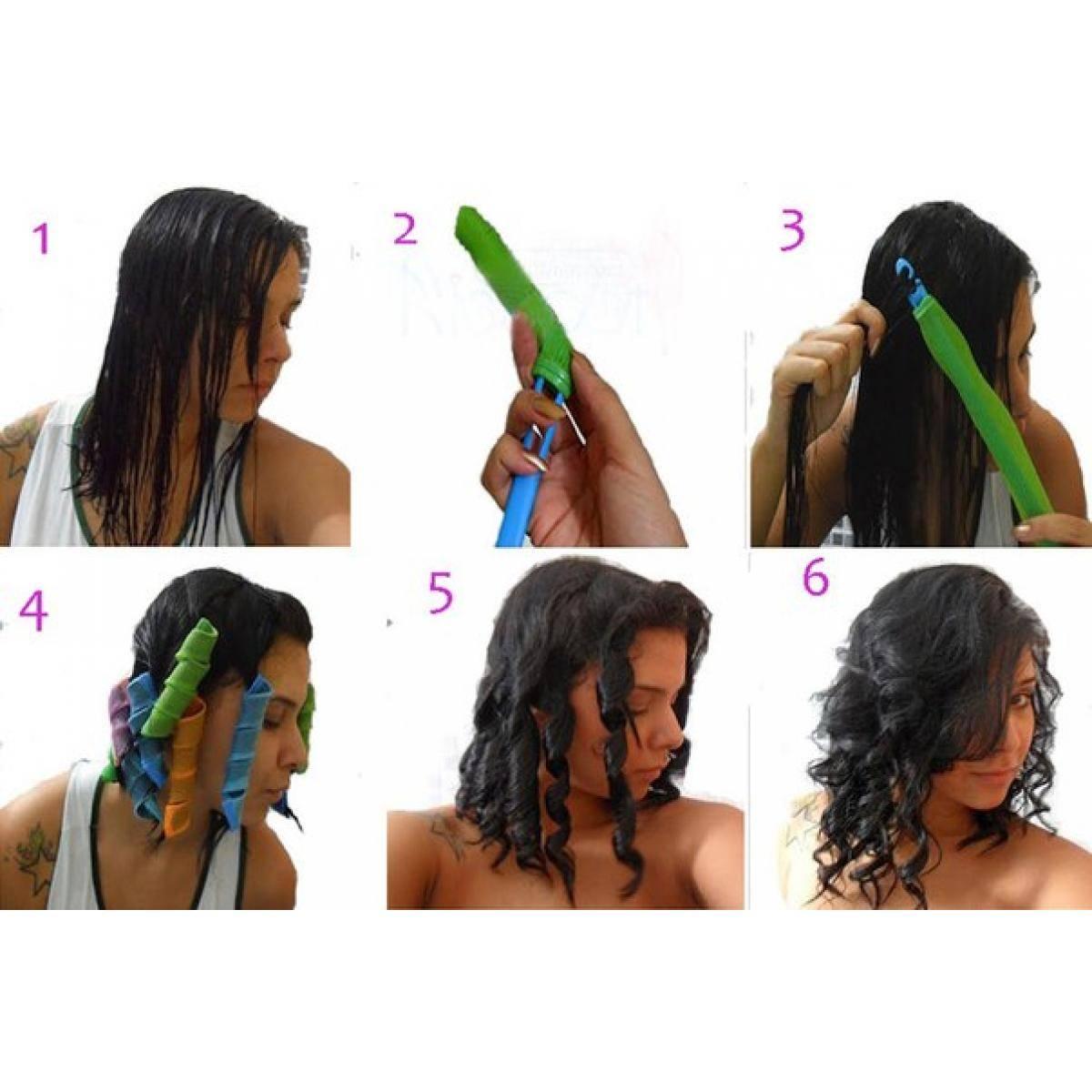 Укладка на бигуди-липучки коротких волос для объема у корней
