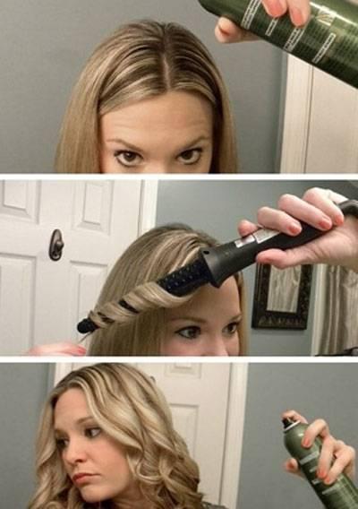 Укладка на длинные и короткие волосы феном или утюжком