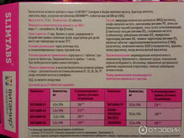 слимтабс таблетки для похудения отзывы