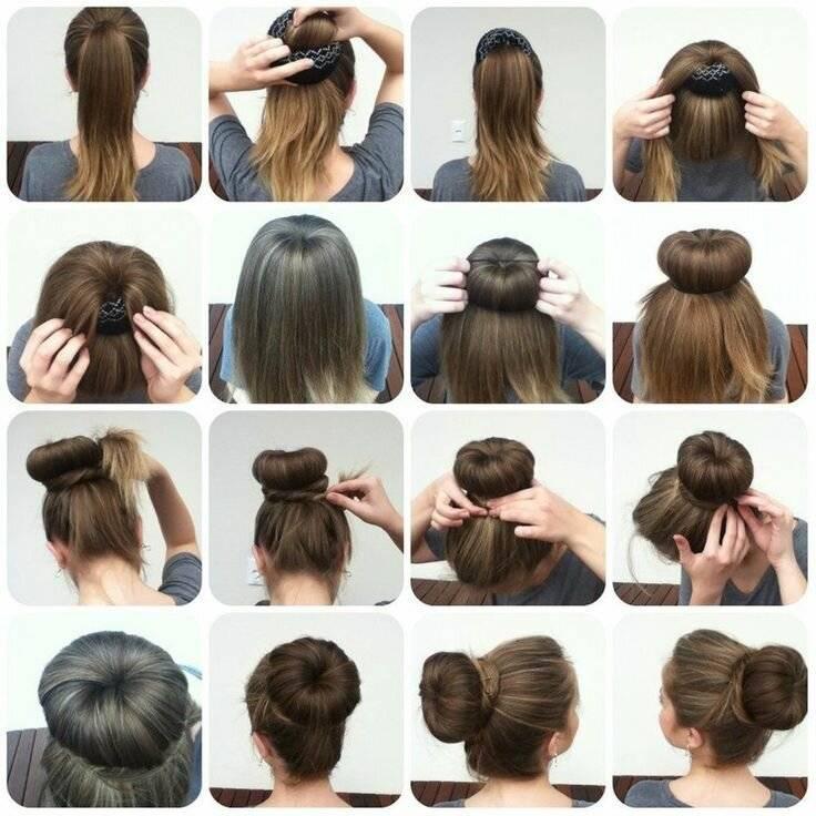 Как сделать прическу с бубликом: как делать пучок на длинные, средние волосы по шагам для девочки, как заплести шишку с помощью шпилек